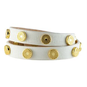 Picture of White Leather Wrap with Gold Studs